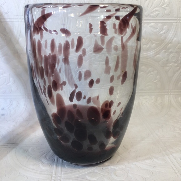Heavy Art Glass Vase with Plum Accents